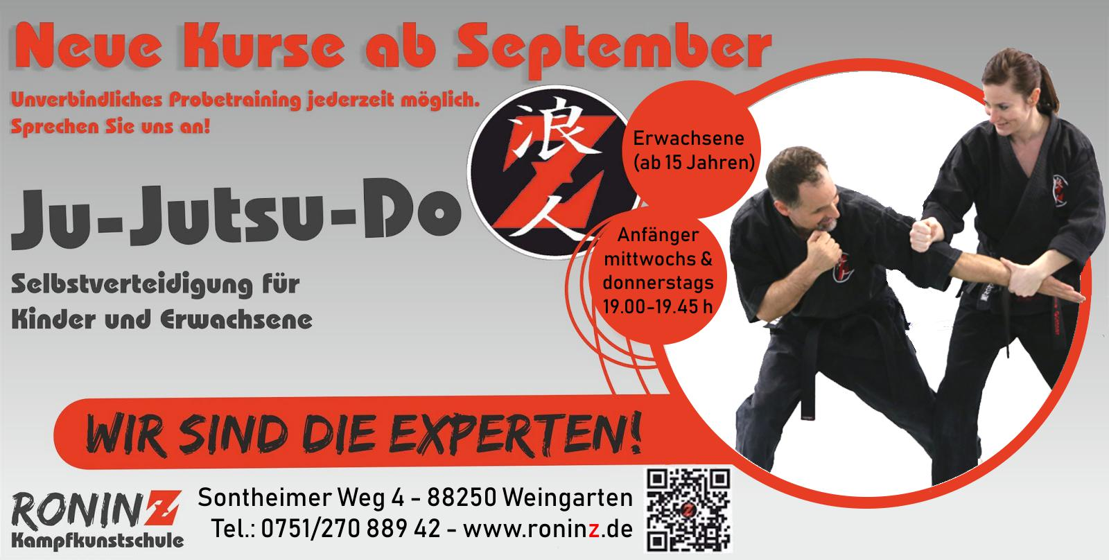 Neue Kurse ab September 2018 Ju-Jutsu-Do